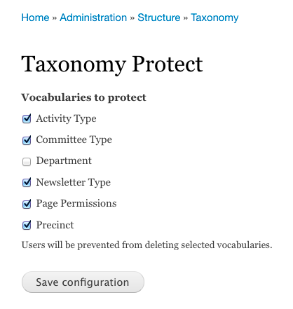 Taxonomy Protect admin settings