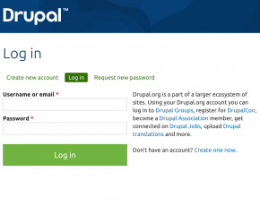A screenshot of a Drupal login form