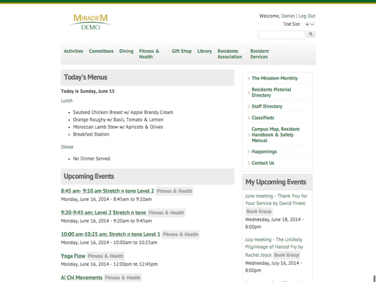 Screenshot of Miradem site home page