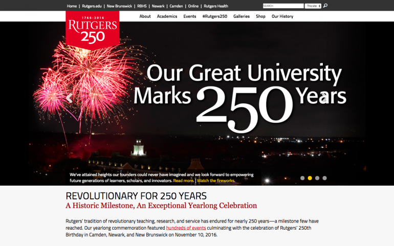 Screenshot of Rutgers 250 desktop website